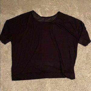Lane Bryant black top mesh shoulder